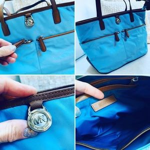 MK Michael Kors Shoulder Bag Fabric Leather Trim